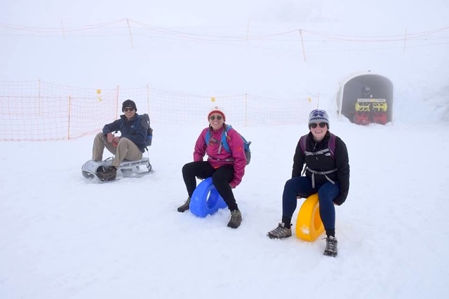 Sledding on a glacier in Switzerland with Sammy and her boyfriend!